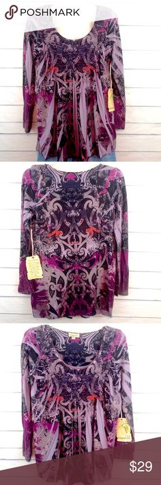 "One World Purple Boho Pleated Tunic Small NWT Brand new with tags!  One World ""Purple Rain"" long sleeved print Tunic. Gathered at bust with pleated detail from bust to hem.  Size small.  Bust 18"" across.   🔹Please ask all questions before you purchase! I'm happy to help! 🔹Sorry, no trades or holds 🔹Please, no lowball offers 🔹Please use Offer Button! 🔹Bundle for best prices! 💕Happy Poshing! ONE WORLD Tops Tunics"