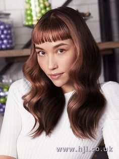 2017 Matrix long sleek chocloate brown style with glamour wave and balayage with micro fringe - HJI Brown Hair With Blonde Balayage, Balayage Long Hair, Balyage Hair, Gold Blonde, Long Brown Hair, Hair Color Balayage, Classy Hairstyles, Long Bob Hairstyles, Wig Hairstyles