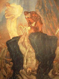 Amos Nattini, illustration for Dante's Divine Comedy Tarot, Dantes Inferno, Figure Poses, Historical Art, Illustration Artists, Art Techniques, Occult, Dark Art, Light In The Dark