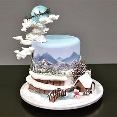 Christmas Cake Designs, Christmas Cake Decorations, Holiday Cakes, Christmas Desserts, Christmas Treats, Christmas Baking, Christmas Cakes, Pretty Cakes, Beautiful Cakes