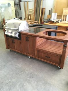 Grill Table - Grill Cart - Grill Cabinet for Big Green Egg, Kamado Joe, Primo, Dual Grills, Gas Grills & more