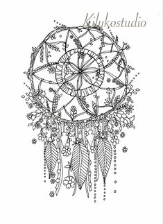 dream catcher botanical wildflower adult coloring by kilykostudio  Davlin Publishing #adultcoloring