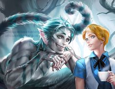 """New Artworks by Sakimi chan   The Dancing Rest : Alex in Wonderland """"My version of Male #Alice and Humanoid #Cheshirecat from #aliceinwonderland.""""  http://thedancingrest.com/2014/10/02/new-artworks-by-sakimi-chan/"""