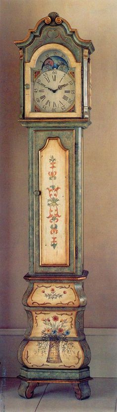 Hand-painted grandfather clock from Horchows, with Florentine motifs. My very first grandfather clock! Grandmother Clock, Tick Tock Clock, Clock Painting, Father Time, Cool Clocks, Antique Clocks, Painted Furniture, Furniture Decor, Furniture Design