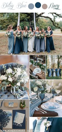 Wedding Color Pallet, Fall Wedding Colors, Wedding Color Schemes, Rustic Wedding Theme, Country Wedding Colors, Navy Blue Wedding Theme, Blue Wedding Decorations, Dusty Blue Weddings, May Weddings