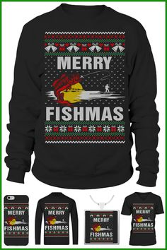 Merry Fishmas ugly Christmas sweater #fishmas #xmas #fishing Ugly Xmas Sweater, Christmas Sweaters, Fishing World, Hoodies, Sweatshirts, Being Ugly, Merry, T Shirt, Fashion