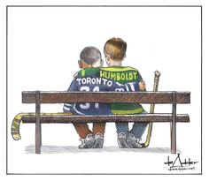 Halifax cartoonist Michael de Adder says he was simply trying to find a small bit of positivity with an image that has garnered national attention for its depiction of recent tragedies in Toronto and Humboldt, Sask. I Am Canadian, Canadian History, Hockey Mom, Ice Hockey, Hockey Rules, Blackhawks Hockey, Hockey Stuff, Toronto Photography, O Canada