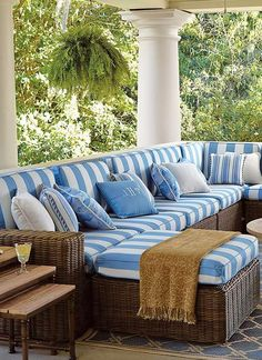 The Hyde Park Modular Seating will transform your outdoor space into a coastal getaway with  ocean-gray wicker that pairs perfectly with whitewashed teak furniture and fits any space with individual pieces for customizable arrangements.