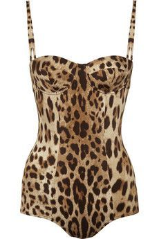 Dolce & Gabbana Leopard-print swimsuit - ShopStyle One-Piece Swimwear Hot Lingerie, Luxury Lingerie, Dolce & Gabbana, Fashion Art, Womens Fashion, Fashion Prints, Women's Dresses, Animal Print Fashion, Animal Prints