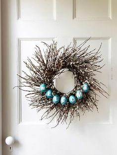 easter wreath - Very pretty. These are real eggs that have been blown out but I think you could use plastic eggs instead.