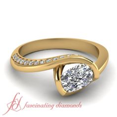 Cushion and Round Cut Diamonds 14K Yellow Gold Petite Engagement Ring in Pave Setting || Swirl Defined Ring