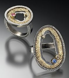 """Geode Rings with Stones""  Gold, Silver, & Stone Ring  Created by Jenny Reeves"