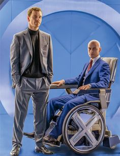 "Michael Fassbender (as Magneto/Erik Lehnsherr) & James McAvoy (as Charles Xavier)  in ""X-Men: Apocalypse"" (2016)"