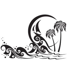 I like this design because it is simple and pretty.  It looks like it would have been fun to create in illustrator, and it is interesting how the palm trees just sit in the water indicating that there is an island there.  I is also cool how the boat just sits up on top of the wave.