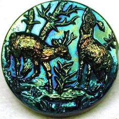 Antique Black Glass Button with Carnival Luster 2 Deer in Forest Pictorial.