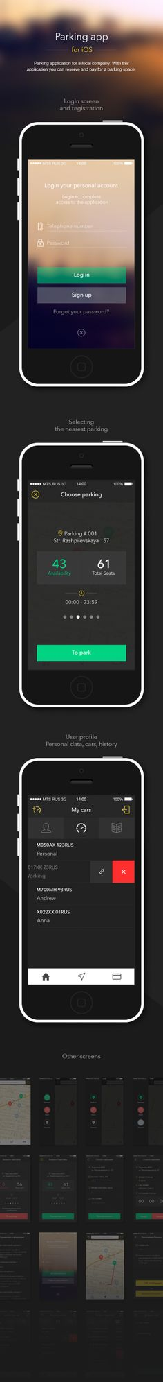 Parking application for a local company. With this application you can reserve and pay for a parking space. Web Design, Ios App Design, Mobile Ui Design, User Interface Design, Mobile Login, App Login, Mobile App, Parking App, Parking Space