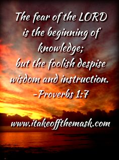 The fear of the LORD is the beginning of knowledge; but the foolish despise wisdom and instruction. Good Life Quotes, Wisdom Quotes, Scripture Verses, Scriptures, Proverbs 17 17, Prince Of Peace, Fear Of The Lord, Never Stop Learning, Healing Quotes