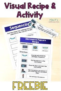 Microwave Popcorn Visual Recipe and Sequencing FREEBIE for Life Skills