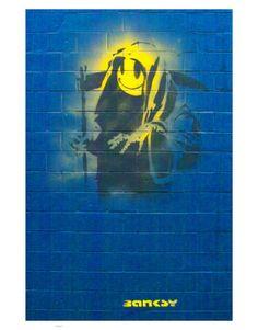 Street Art by Banksy Banksy Graffiti, Urban Graffiti, Bansky, Banksy Prints, Grin Reaper, Ephemeral Art, Urbane Kunst, Yellow Art, Art Archive