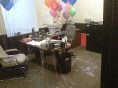 The decorating results of an office full of pranksters! This was for a birthday of one of our staff 40th Birthday, Birthday Ideas, Office Prank, Prank Ideas, Some Fun, Fun Stuff, Restoration, Decorating, Fun Things