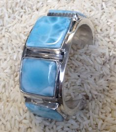 Larimar cuff bracelet by Colorado Jewelrydude.