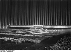 [Photo] Nazi Party rally at Zeppelinfeld, Nuremberg, Germany, 8 Sep 1936; the structure was designed by Albert Speer | World War II Database (Bundesarchiv)
