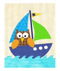 Owl in a Sailboat print.