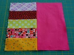 Super easy Scrappy Strips and Bricks quilt block