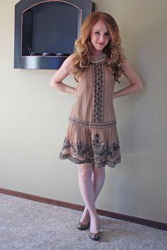 ASOS drop-waist, embroidered dress