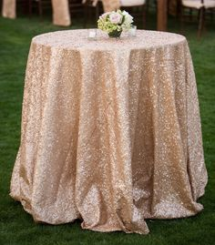 Factory Directly 15PCS Wholesale  120'' Round Wedding Decorative Champagen Glitter Round Sequins Table Runner Table Cloth #Affiliate