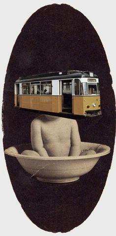 Matthieu Bordel, Alphonse tram, Collage Book 23 x 31 Matthieu Bourel, Collage Book, Human Condition, Vintage Photographs, Pop Art, Illustration, Art Journals, Persona, Mixed Media
