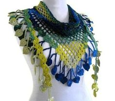 Crocheted Blue green and yellow Bamboo Lace Scarf Crochet Ripple, Crochet Shawl, Easy Crochet, Crochet Lace, Lace Scarf, Lace Making, Crochet Scarves, Crochet Projects, Creations