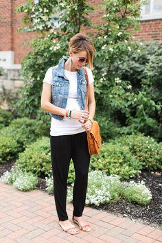 cross body bag, denim vest, flat sandals, knit pants, soft pants