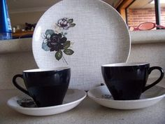 Gloria Rose Saucers and Black cup 24 cm Plate Plates For Sale, Cup And Saucer, Porcelain, Pottery, Crown, Tableware, Glass, Ceramica, Porcelain Ceramics