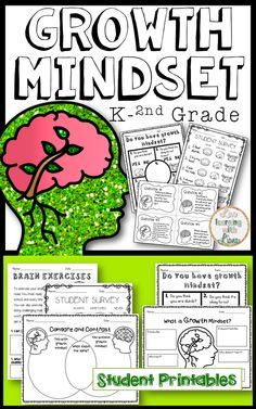 Growth Mindset unit for first grade! The best printables, growth mindset question cards, growth mindset flip book, posters for encouragement, reading comprehension, and so much more fore growth mindset resources and activities