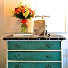 This beautiful dresser which is from the Unfolded Studio in High Point, NC is finished in a blend of Florence & French Linen Chalk Paint® decorative paint by Annie Sloan | By Barb & Molly Skivington