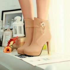 $20.99Winter Round Toe Stiletto High Heel Zipper Ankle Rhinestone Apricot Martens Boots
