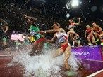 Etenesh Diro of Ethiopia and Habiba Ghribi of Tunisia compete in the women's 3000m Steeplechase