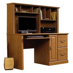 sauder orchard hills computer desk with hutch u2013 carolina oak