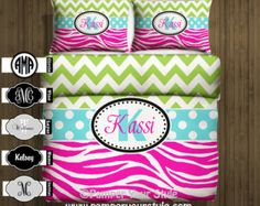 Chevron Bedding - Chevron and Zebra Monogrammed Bedding - Green and Hot Pink -  Personalize with Name or Monogram - Pick Your Color and Size