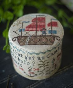 Mariner's Drum by Plum Street Samplers stitched on R & R Patriot's Brew linen