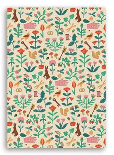 Image of FLORA AND FAUNA WRAPPING PAPER. Brighton based illustrator Harriet Seed. WRAP magazine online store.