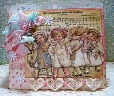 Charming Vintage Card...with children, tatted hearts, & old music sheet paper.
