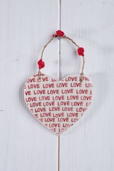 LOVE Valentine's Porcelain Large Heart by BryonyApplegate on Etsy