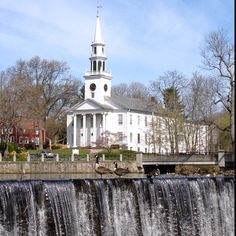Church over the waterfall -- Milford, CT