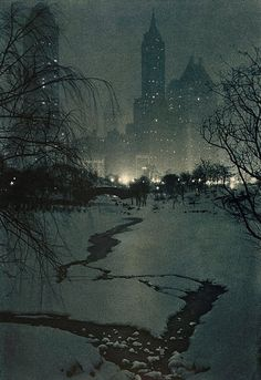"""The White Night"", Adolf Fassbender, 1936 // Photo of Central Park, NYC"