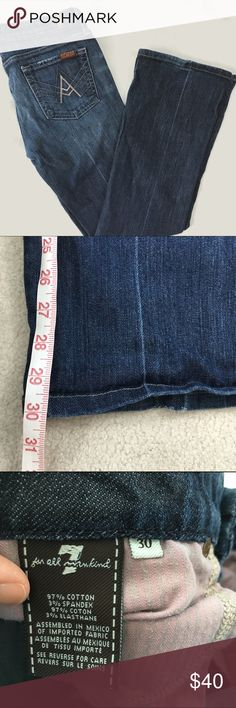 "7FAM A Pocket Boot Cut Denim Classic cut from high end denim brand 7 For All Mankind in very good condition. The boot cut is back! Rise: 8"", Inseam: 30"". 7 For All Mankind Jeans Boot Cut"
