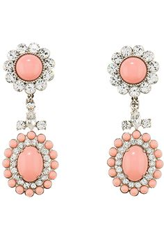 Miu Miu Earrings - Plexiglas and Swarovski cabochon dangle earrings with clip–-steel hardware