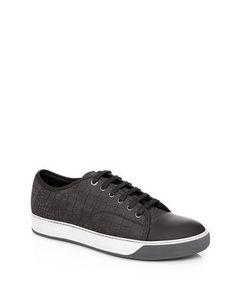 Lanvin Low Top Sneaker In Nubuck And Velour Calfskin - Men - Lanvin Online Store - Fall/Winter 14 15 Men. Worldwide delivery