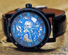 Black Blue Steampunk Mens Watch (PA024)